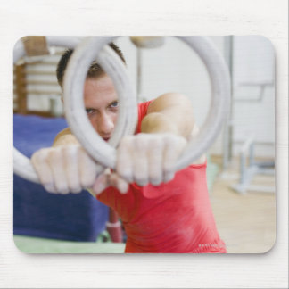 Male gymnast on rings mouse pad