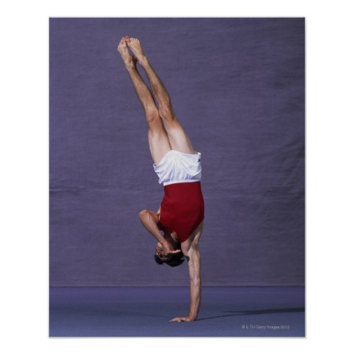 Male gymnast performing on the floor exercise 2 print