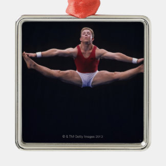 Male gymnast performing on the floor exercise christmas ornament