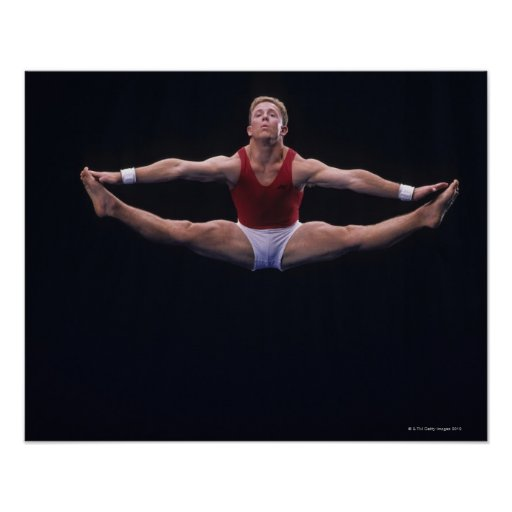 Male gymnast performing on the floor exercise poster