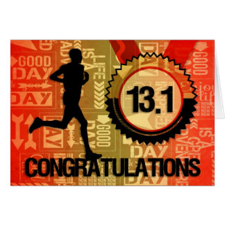 Male Half Marathon Runner Event Congratulations Card