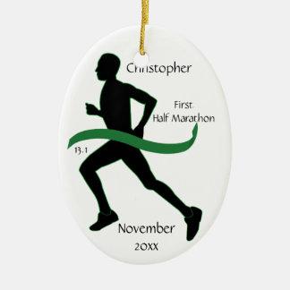 Male Half Marathon Runner Green Ribbon Ornament