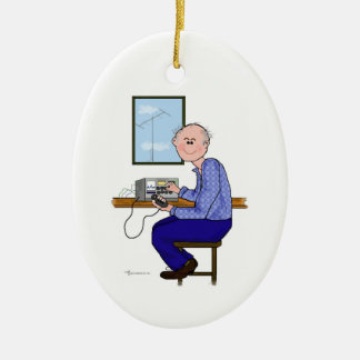 Male Ham -Balding Grey Christmas Ornament