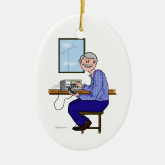 Male Ham -Grey Hair Moustache Xmas Ornament