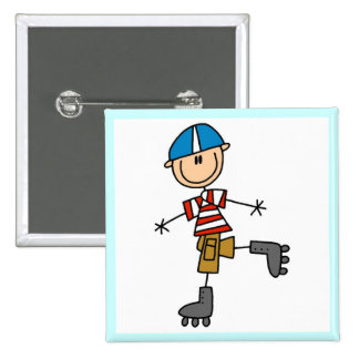 Male In-Line Skating Tshirts and Gifts 15 Cm Square Badge