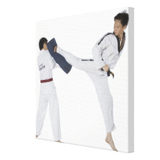 Male karate instructor teaching martial arts to 2 canvas print