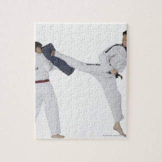 Male karate instructor teaching martial arts to 2 jigsaw puzzle