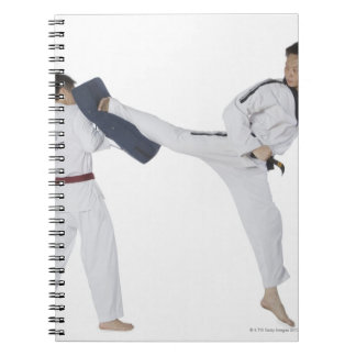 Male karate instructor teaching martial arts to 2 notebook