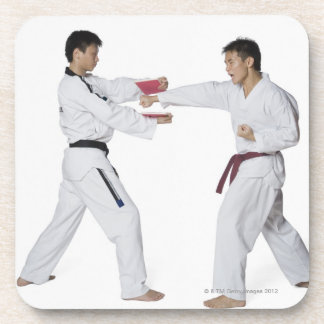 Male karate instructor teaching martial arts to coaster