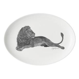 male lion art africa african serving platter plate