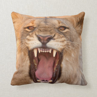 Male Lion Growling Cushion