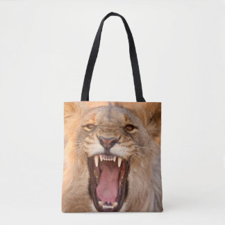 Male Lion Growling Tote Bag