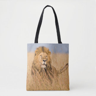 Male Lion Hidden in Grass Tote Bag