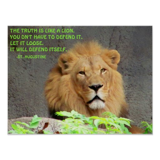 Male Lion St. Augustine Truth Quote Poster