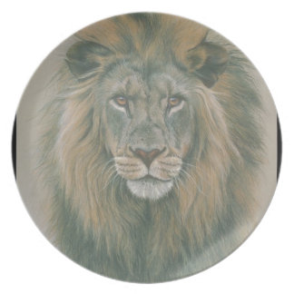 Male Lion With Beautiful Mane Plate