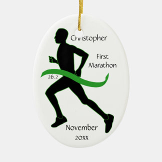 Male Marathon Runner Lt Green Ribbon Ornament
