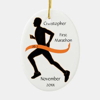 Male Marathon Runner Orange Ribbon Ornament