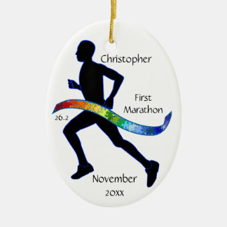 Male Marathon Runner Puzzle Ribbon Ornament