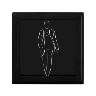 male model on fashion show small square gift box