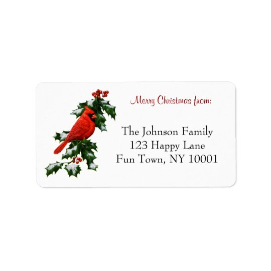 Male Northern Cardinal and Holly Address Label