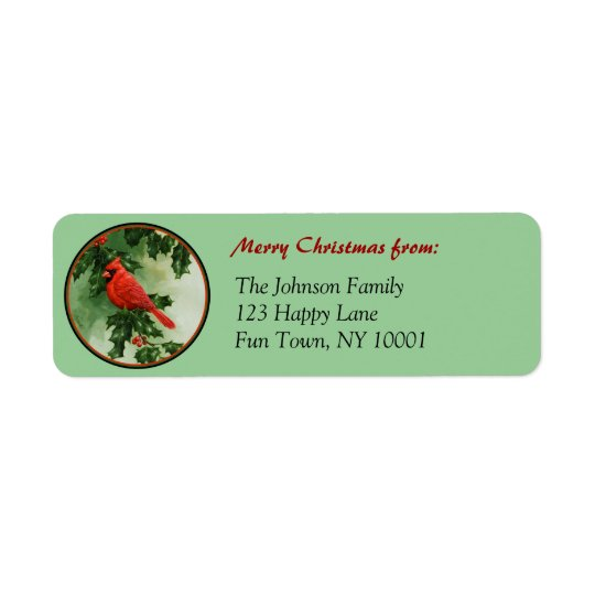 Male Northern Cardinal and Holly Return Address Label