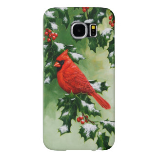 Male Northern Cardinal and Holly Samsung Galaxy S6 Cases