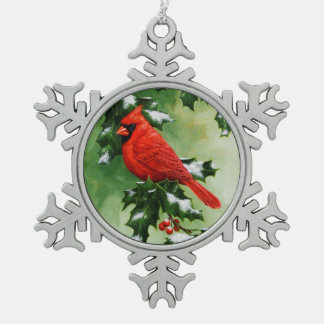 Male Northern Cardinal and Holly Snowflake Pewter Christmas Ornament
