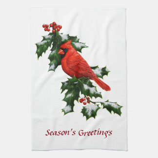 Male Northern Cardinal and Holly Tea Towel