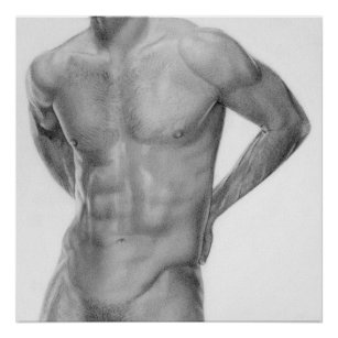 Male nude black white posters