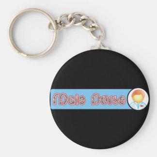 Male Nurse 2 Basic Round Button Key Ring