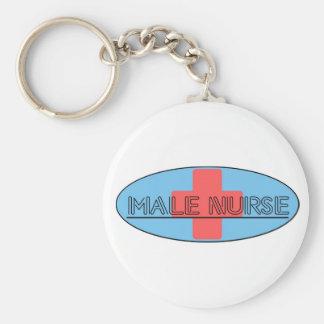 Male Nurse Basic Round Button Key Ring