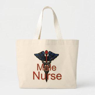 Male Nurse with Caduceus Large Tote Bag