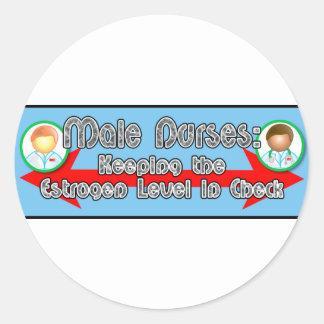 Male Nurses: Round Stickers