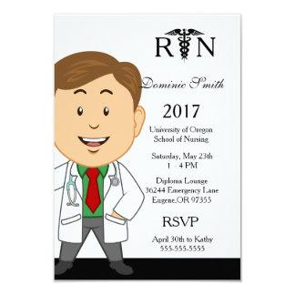 Male Nursing School Graduation Invitation