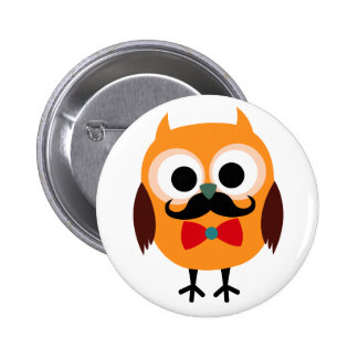 Male Owl with Black Mustache 6 Cm Round Badge
