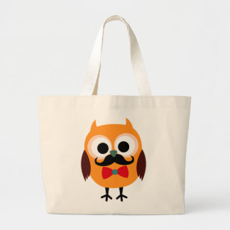 Male Owl with Black Mustache Large Tote Bag