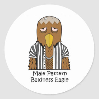 Male pattern baldness eagle classic round sticker
