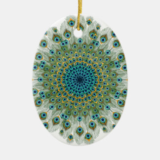 Male Peacock Colorful Mandala Christmas Ornament