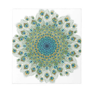 Male Peacock Colorful Mandala Notepad