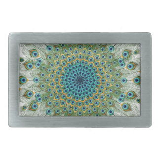Male Peacock Colorful Mandala Rectangular Belt Buckle