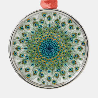 Male Peacock Colorful Mandala Silver-Colored Round Decoration