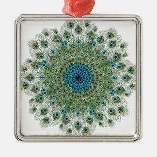 Male Peacock Colorful Mandala Silver-Colored Square Decoration