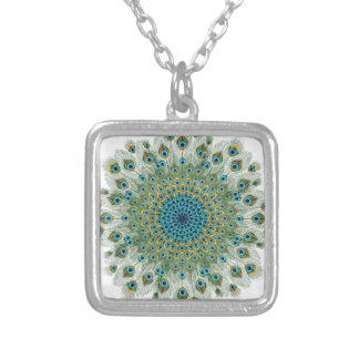 Male Peacock Colorful Mandala Silver Plated Necklace