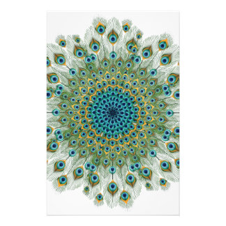 Male Peacock Colorful Mandala Stationery