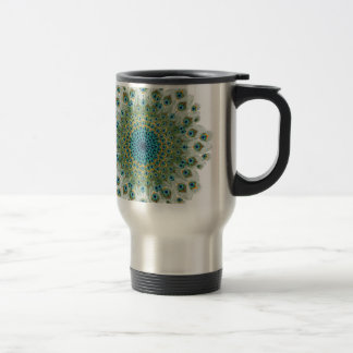 Male Peacock Colorful Mandala Travel Mug