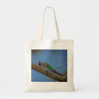 Male Peacock in a Tree Tote Bag