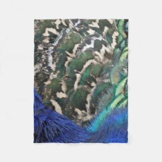Male Peacock Side Feathers Fleece Blanket