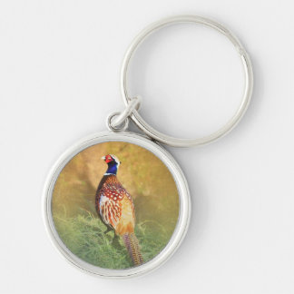 Male Pheasant Keyring Silver-Colored Round Key Ring