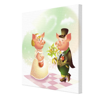 Male pig gives a bouqet of flowers to a female pig canvas print