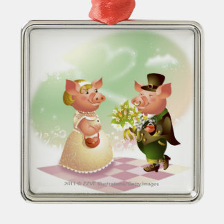 Male pig gives a bouqet of flowers to a female pig Silver-Colored square decoration